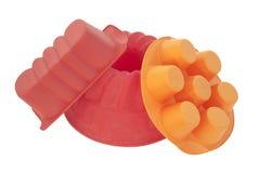 силикон красного цвета тарелки выпечки Стоковые Фотографии RF