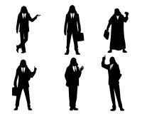 6 силуэтов арабских бизнесменов Стоковое Фото