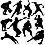 силуэты бейсбола Стоковые Фотографии RF