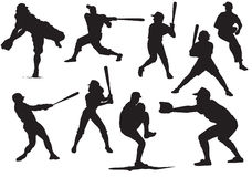 силуэты бейсбола стоковая фотография