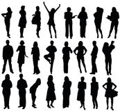 силуэты бизнес-группы стоковая фотография rf