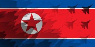 Силуэты блока бойца на фоне флага Северной Кореи Стоковые Изображения RF