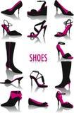 силуэты ботинок Стоковые Изображения