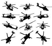 силуэты вертолета установленные Стоковое фото RF