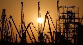 Силуэты гаван кранов на заходе солнца Порт груза стоковое изображение rf