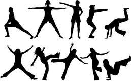 силуэты гимнастики Стоковая Фотография