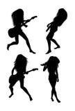 силуэты гитариста Стоковая Фотография RF