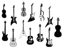 силуэты гитар Стоковая Фотография RF
