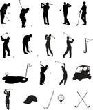 силуэты гольфа Стоковое Изображение RF