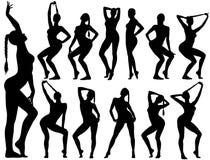 Силуэты девушек pinup сидя в сексуальных представлениях иллюстрация штока
