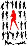 силуэты девушки собрания иллюстрация штока