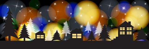 Силуэты домов на яркой праздничной предпосылке Иллюстрация Кристмас стоковые изображения