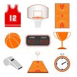 силуэты иконы баскетбола установленные игроками Стоковые Изображения RF