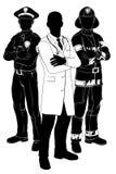 Силуэты команды чрезвычайных обслуживани Стоковое Изображение