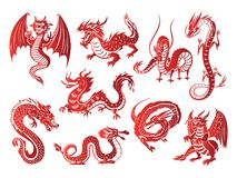 Силуэты красного дракона Азии китайца животные на белой предпосылке vector иллюстрация Стоковое Фото