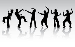 силуэты людей танцы Стоковое Изображение