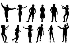 силуэты людей Стоковое фото RF
