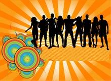силуэты людей партии толпы Стоковые Изображения RF