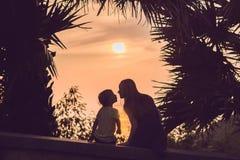 Силуэты матери и сына, которые встречают заход солнца в тропиках против фона пальм стоковое изображение