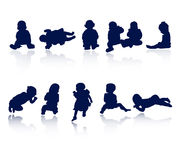 силуэты младенца Стоковая Фотография