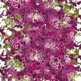 Силуэты много различных ярких розовых цветков и зеленых листьев иллюстрация вектора