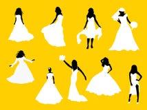 силуэты невест самомоднейшие Стоковые Изображения RF
