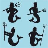 силуэты Нептуна Стоковая Фотография