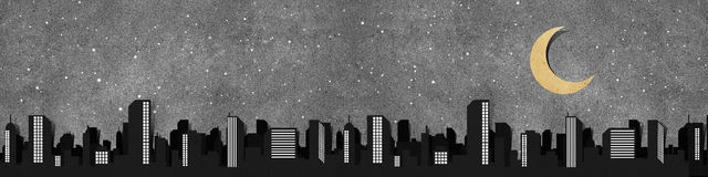 силуэты панорамы корабля города рециркулированные бумагой Стоковые Изображения RF