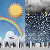 силуэты панорамы корабля города рециркулированные бумагой Стоковые Фотографии RF