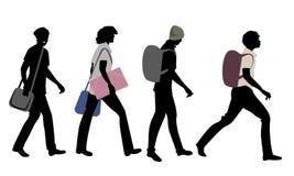 Силуэты 4 подростков идя к школе иллюстрация штока