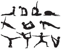 Силуэты положений йоги на белой предпосылке бесплатная иллюстрация