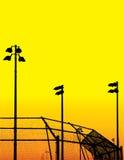 силуэты поля бейсбола Стоковое фото RF