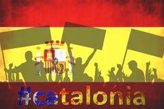 Силуэты протестуя людей Кризис Испании, Каталонии Стоковое Фото