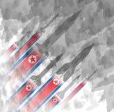 Силуэты ракеты на фоне флага Северной Кореи воинская предпосылка Конфликт в Азии Стоковые Фото
