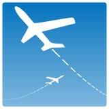 силуэты самолета Стоковое Изображение