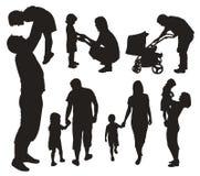силуэты семьи установленные Стоковые Фотографии RF
