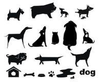 силуэты собаки смешные иллюстрация штока
