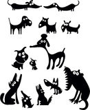 силуэты собаки смешные Стоковая Фотография RF