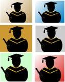 силуэты студент-выпускников Стоковое фото RF