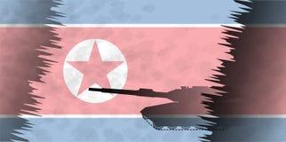 Силуэты танков на фоне флага Северной Кореи Стоковая Фотография