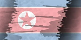 Силуэты танков на фоне флага Северной Кореи Стоковые Изображения