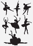 силуэты танцоров балета Стоковые Фото