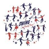 Силуэты танцоров качания изолировали формировать круг на белой предпосылке иллюстрация вектора