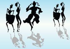 силуэты танцульки Стоковые Изображения