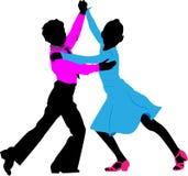 силуэты танцы пар детей Стоковая Фотография