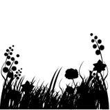 силуэты травы предпосылок иллюстрация вектора