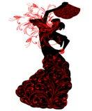 Силуэты фламенко танцев девушки стоковое изображение rf