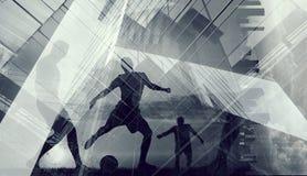 Силуэты футболистов Стоковое фото RF