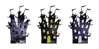 Силуэты хеллоуина замков акварели ужасных изолированных на белой предпосылке иллюстрация вектора