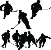 силуэты хоккея Стоковая Фотография